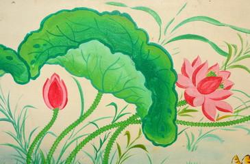翻訳  タイにある壁画の蓮の花  Wall paintings of lotus flower  Thailand