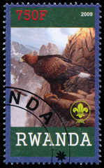 Stamp printed by Rwanda shows Eagle