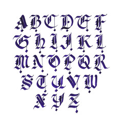 Hand drawn gothic ink pen font. Capital letters on white background.