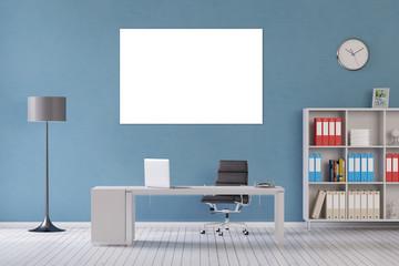 Weiße Leinwand an Wand im Büro