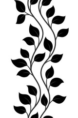 vector illustration, seamless pattern, decorative dark-grey wavy tree branches with black leaves on white background