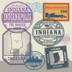 Stamp set with the name and map of Indiana, United States