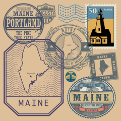 Stamp set with the name and map of Maine, United States