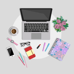 Woman working desk top view. Working place vector illustration
