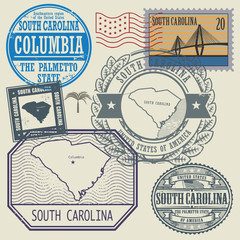 Stamp set with the name and map of South Carolina, United States