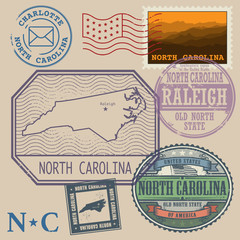 Stamp set with the name and map of North Carolina, United States