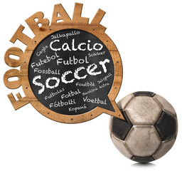 International Football - Speech Bubble / Blackboard in the shape of a speech bubble with the word Football in many languages of world and an old soccer ball. Isolated on white