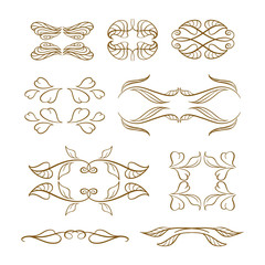 Vector calligraphy elements set.