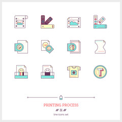 Color line icon set of printing process tools elements. Types of