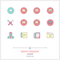 Color line icon set of dentist therapist objects, tools and elem