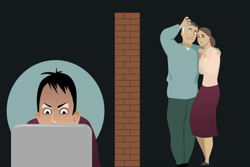 Concerned parents separated by a brick wall from their teenage son, addicted to internet, EPS 8 vector illustration