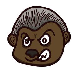Cartoon illustration of werewolf head