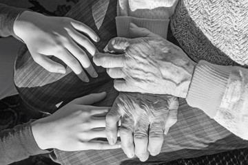 The hands of grandmother and grandchild