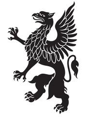 Heraldic griffin black
