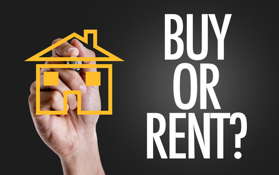 Hand writing the text: Buy or Rent?