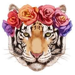 Portrait of Tiger with floral head wreath. Hand-drawn illustration, digitally colored.