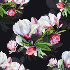 Seamless pattern of flowers magnolia