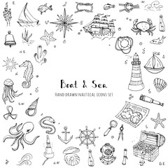 Hand drawn doodle Boat and Sea set Vector illustration boat icons sea life concept elements Ship symbols collection Marine life Nautical design Underwater life Sea animals Sea map Spyglass Magnifier