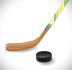 Hockey stick and hockey puck. Illustration 10 version.