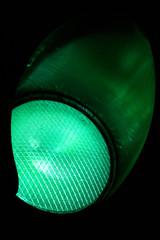 Close up Green Traffic lights at night