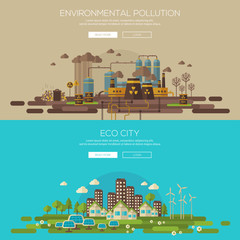 Green eco city and environmental pollution by factory