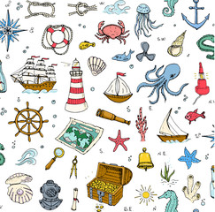 Seamless background hand drawn doodle Boat and Sea icons set Vector illustration Sea life elements Ship symbols collection Marine life Nautical design Underwater Sea animals Sea map Spyglass Magnifier
