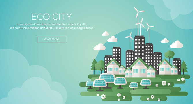 Green eco city and sustainable architecture banner.