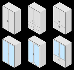Set of six cupboards. Vector illustration. Set for isometric interior.