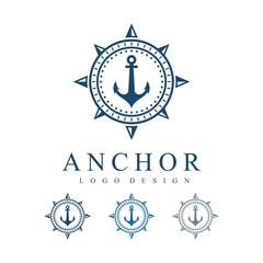 Compass Anchor Circle Stars Vector Logo Design Template