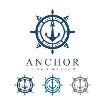 Ship's Wheel, Compass, Anchor, Circle Logo Design Template