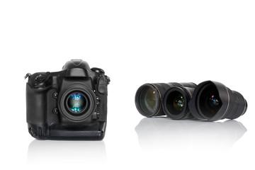 Kamera mit Objektiven scharf