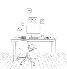 sketch modern office interior