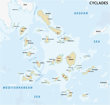 map of the greek island group cyclades