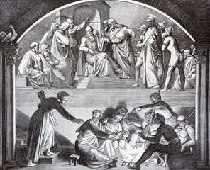 Jesus Before Caiaphas and betrayal of Peter lithography