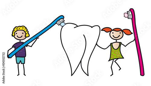 Gesundheit - Zahnpflege bei Kindern, Junge und Mädchen mit ...