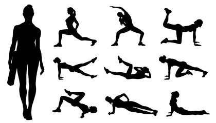 fitness women silhouettes