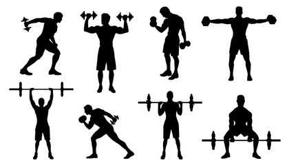gym men silhouettes
