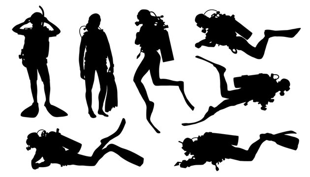 diver silhouettes