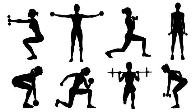gym women silhouettes