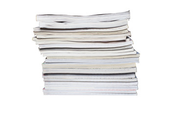 The stack of magazines on a white background. There are 21 magazines with different thickness