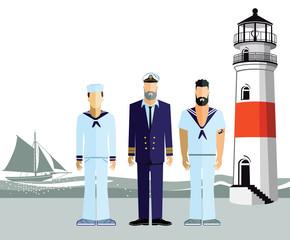 drei Seemänner an der Küste