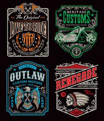 Vintage motorcycle t-shirt graphic set