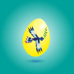 Illustration yellow egg with a bird Yellow egg with a bird on a green background leaf in its beak under the shadow egg