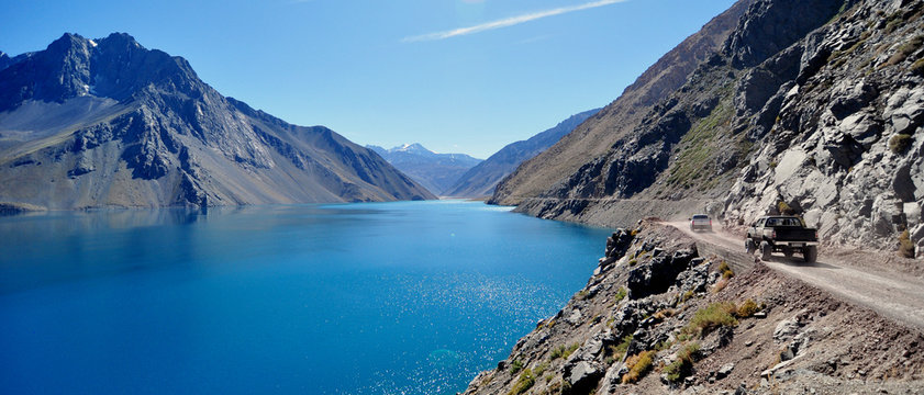 Enbalse El Yeso Glacial Reservoir in Santiago, Chile