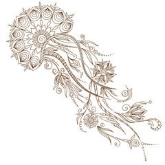 Stylized   decoration  jellyfish isolated on white background.