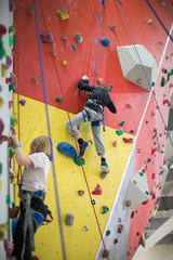 children on the climbing wall