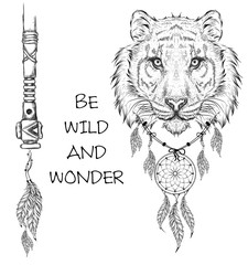 Tiger indian warrior, animal hand drawn illustration, native american poster.  Hand draw vector