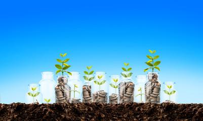 coins in jar, saving money