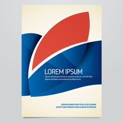 Vector blue and red brochure, annual report, flyer, magazine cover template