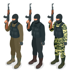Spec ops police officers SWAT in black uniform Soldier, officer, sniper, special operation unit, SWAT flat 3d isometric illustration User pic Soldier Isometric 3d illustration. Military man vector JPG